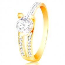 14K Gold Ring - großer klarer Zirkon, asymmetrische Ringschiene mit kleinen Zirkonen