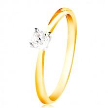 14K Gold Ring - dünne Ringschiene, klarer Zirkon in einer Fassung aus Weißgold