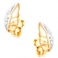 14K Gold Ohrringe - zweifarbiges Blatt mit klaren Zirkonen geschmückt