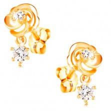 Ohrringe aus 14K Gelbgold, Rosenblüte mit klaren Zirkonen, Ohrstecker