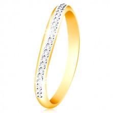 14K Gold Ring - glitzernder gewellter Streifen aus klaren Zirkonen und Weißgold