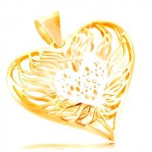 585 Gold Anhänger - großes zweifarbiges Herz, Weißgold Mitte mit Flammen um sie herum