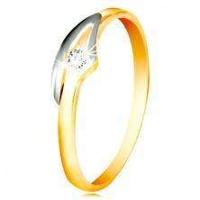 14K Gold Ring mit einem klaren Zirkon, zweifarbige Ringschiene