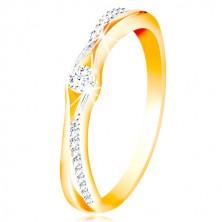 14K Gold Ring, geteilte Ringschiene aus Gelb und Weißgold, klare Zirkone