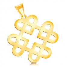 Anhänger aus 14K Gelbgold - glänzendes Ornament aus vier Herzumrissen