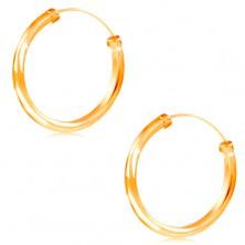 Ohrringe aus 14K Gelbgold - Kreise mit glänzender glatter Oberfläche, 20 mm