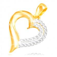 14K Gold Anhänger - Doppel Herzumriss geschmückt mit Zirkonen