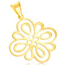 Anhänger aus 585 Gelbgold - glänzendes glattes Ornament aus abgerundeten  Schleifen