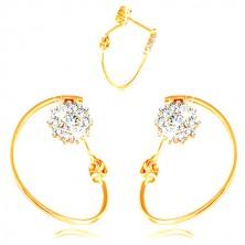 585 Gold Ohrringe - dünner Kreis, Blume mit Weißgold und Zirkonen, Ohrstecker