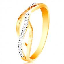 Ring aus kombiniertem 14K Gold - geflochtene glatte und Zirkon Linien
