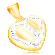 14K Gold Anhänger - Herz mit einem Rand und einer schrägen Linie aus Weißgold, Einschnitte