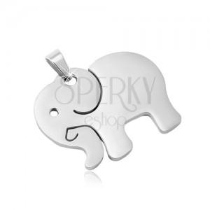 Edelstahl Anhänger in silbernem Farbton, matter Elefant mit Einschnitten