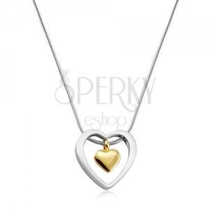 Edelstahl Halskette, goldenes Herz in einem Herzumriss