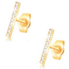 Ohrringe aus 14K Gelbgold, schmaler Streifen mit klaren Zirkonen geschmückt