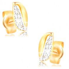 14K Gold Ohrringe - zweifarbiges gewelltes Korn mit Zirkonen und Ausschnitt