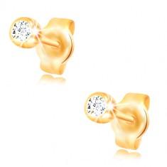 14K Gelbgold Ohrringe - runder klarer Zirkon in einer glänzenden Fassung, 3 mm