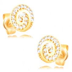 Ohrringe aus 14K Gelbgold - Kreis mit einer Spirale und klaren Zirkonen