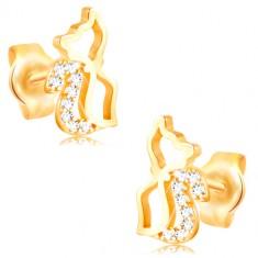 Ohrringe aus 14K Gelbgold - glänzender Katzenumriss mit Zirkon Schwanz