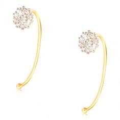 14K Gold Ohrringe - Blume aus klaren Zirkonen an einem dünnen Bogen befestigt