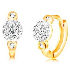 14K Gold Ohrringe mit Klappverschluss - Kreise mit einer Blume aus klaren Zirkonen