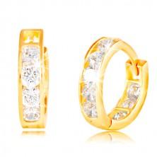 14K Gelbgold Ohrringe mit Klappverschluss - Kreise, eingebettete glitzernde klare Zirkone