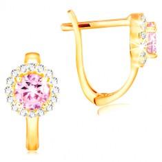 Ohrringe aus 14K Gelbgold - rosa Zirkon in einem Kreis aus klaren Zirkonen