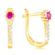 Ohrringe aus 14K Gelbgold - rosa Zirkon Blume, klare glitzernde Linie