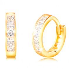 14K Gelbgold Ohrringe mit Klappverschluss - klare eckige Zirkone, Ausschnitte