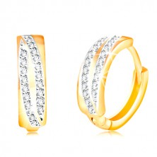 14K Gold runde Ohrringe - zwei glitzernde Bogen aus klaren Zirkonen