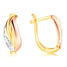 585 Gold Ohrringe - glitzerndes Blatt mit Zirkonen, Gelb, Weiß und Rose Gold