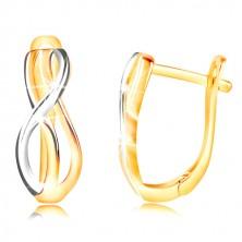 585 Gold Ohrringe - dünne geflochtene Wellen aus Gelb und Weißgold