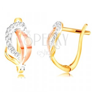 14K Gold Ohrringe - dreifarbiges Blatt mit klaren Zirkonen geschmückt