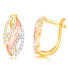 585 Gold Ohrringe - Oval mit einer Welle und Zirkon Tropfen, Gelb, Weiß und Rose Gold