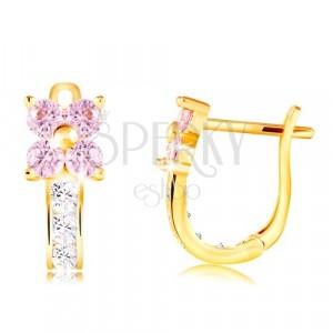 Ohrringe aus 14K Gelbgold - Zirkon Blume in hellrosa Farbe, klarer Stiel