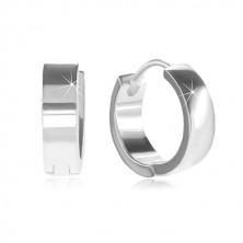 925 Silber Creolen mit Klappverschluss, glänzende und glatte Oberfläche