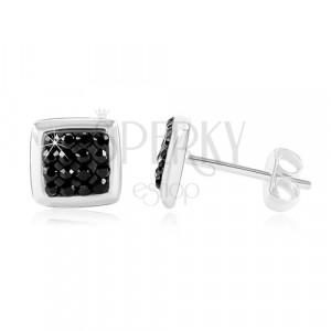 Ohrstecker, 925 Silber - glänzendes Quadrat mit schwarzer Zirkon Mitte