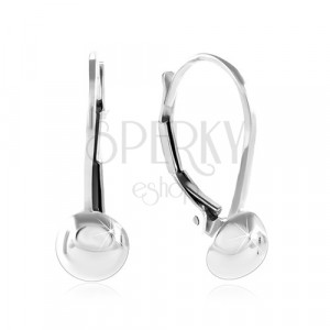 925 Silber Ohrringe, glänzende und glatte Halbkugel, 6 mm