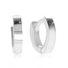 925 Silber Ohrringe mit Klappverschluss - kleine Kreise mit glatter und glänzender Oberfläche