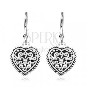 925 Silber Ohrringe, Herz mit schwarzer Glasur und Ornamenten