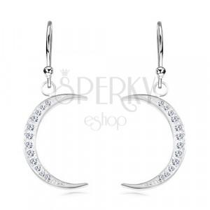 925 Silber Ohrringe, schmale Mondsichel mit glitzernden Zirkonen besetzt