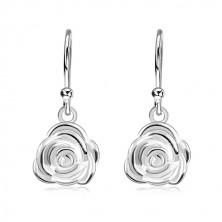 925 Silber Ohrringe, Rose in voller Blüte an Afrohaken