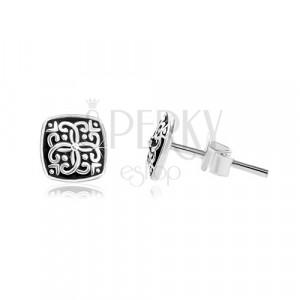 925 Silber Ohrringe, Quadrat mit eingravierten Ornamenten und Patina