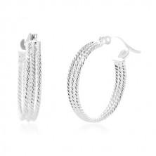 925 Silber Ohrringe - drei gerippte Kreise, 20 mm