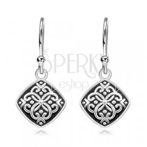 Hängende Ohrringe, 925 Silber, Rhombus mit schwarzer Glasur und Ornamenten
