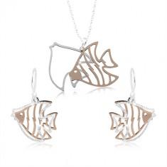 925 Silber Set, geschnitzter Fisch in silberner und kupferner Farbe