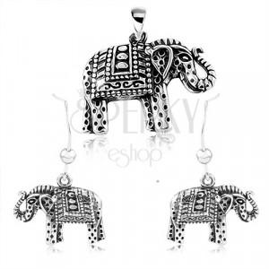 925 Silber Set, Ohrringe und Anhänger, eingravierter Elefant mit schwarzer Patina