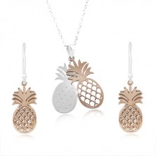 925 Silber Set, Doppel Ananas in silbernem und kupfernem Farbton
