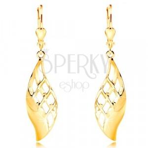 14K Gelbgold Ohrringe - großes glänzendes Blatt mit Gitter geschmückt