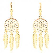 585 Gelbgold Ohrringe - eingravierter Traumfänger mit drei Federn