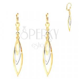 585 Gold Ohrringe - drei glänzende Korn-Umrisse aus Gelb und Weißgold